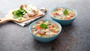 Chicken Soup with Oyster Mushrooms
