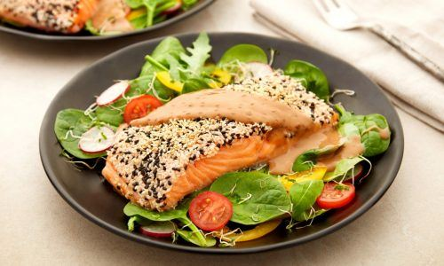 Sesame Crusted Salmon with Roasted Sesame Dressing