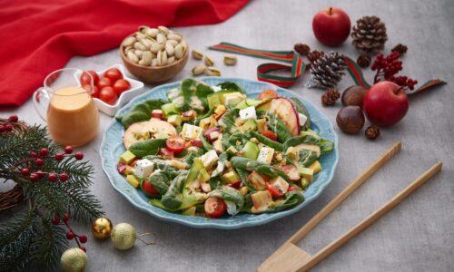 Warm Apple Pistachio Spinach Salad